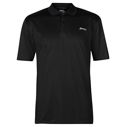 Slazenger Herren Golf Polo Shirt Kurzarm Unifarben Schwarz L