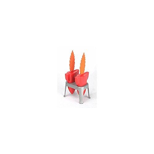 Eisform Rakete 2er Set Küchen Gadget silber rot orange 19cm