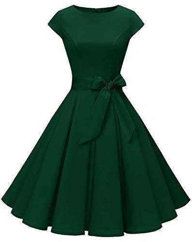 MuaDress 1956 Damen Vintage 1950er Retro Rockabilly Cocktail Prom Kleider Cap-Sleeve Dunkelngrün L