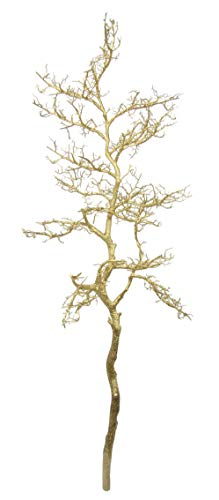 Flair Flower Gold Dekoast Deko-Baum Bodenvase Zweig Äste Weihnachtsdeko Kunstblumen Künstliche Blumen für Vase glänzend, 35x47x110 cm