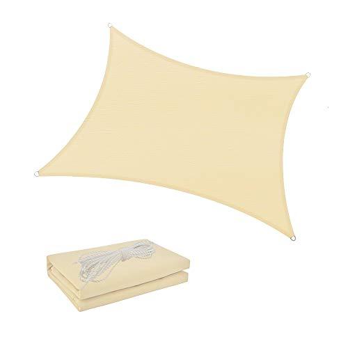 Shade Spring Rectángulo Crema 2x3m Sombra de Sol Impermeable Vela 95% Toldo de Bloque UV Toldo de protección Solar para jardín al Aire Libre Patio Patio
