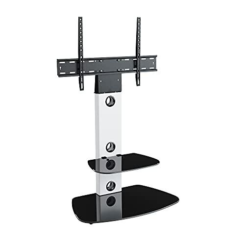 King Meuble TV Cantilever Support TV Intégré,pour Écrans de 32'' à 65'' LCD LED Plasma, H 117.7 cm (Étagères Arrondies, Noir/Support Blanc)