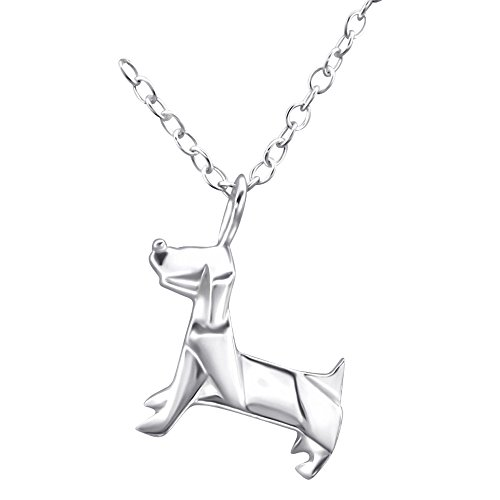 Laimons Damen-Halskette Damenschmuck Hund filigran mit Kette 45cm Sterling Silber 925