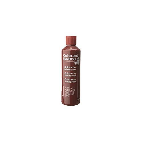 Rouge Vif Colorant Universel Concentré 250 ml pour toutes peintures décoratives et bâtiment. Grande compatibilité aussi bien en milieux solvant et aqueux. Convient également à la coloration des enduits , plâtres , et résines. Grande facililté de dosage grâce à son bouchon compte goutte