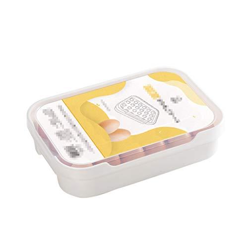 Ollas de condimentos Recipiente de plástico cubierto de huevos for la Nevera, los titulares apilable de huevo, se ajusta a 24 huevos, huevos caja de almacenaje, for nevera, congelador, cocina Caja de