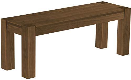 Brasilmöbel Sitzbank 120 cm Rio Kanto Nussbaum Pinie Massivholz Esszimmerbank Küchenbank Holzbank - Größe und Farbe wählbar
