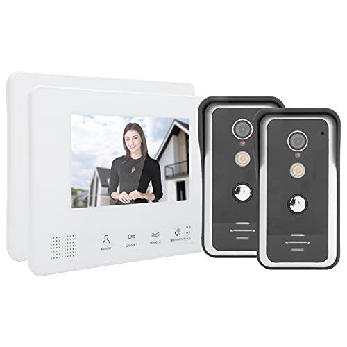 Intercomunicador doméstico, videoportero con visión nocturna, sistema de 2 cables de 7 pulgadas, 2 cámaras, 2 pantallas, videoportero, timbre, sistema de intercomunicación, visión nocturna con LED