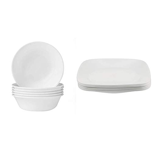 Corelle Soup/Cereal Bowls Set (18-Ounce, 6-Piece, Winter Frost White) & Square Pure White 9-Inch Plate Set (6-Piece)