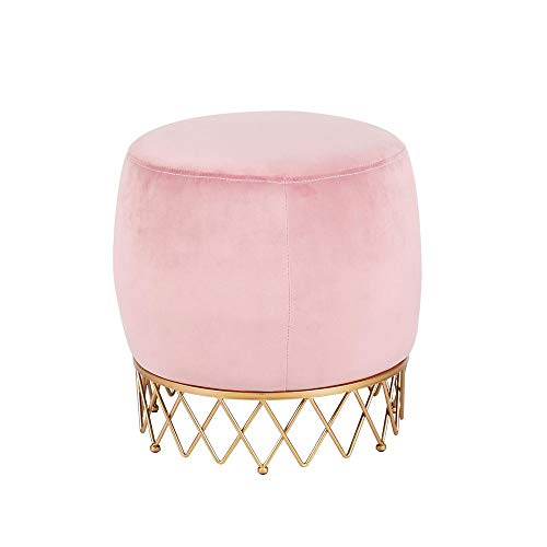 YILIAN Pink Sofa Stool, Simple Household Shoe Changing Stool Fitting Room Modern Dressing Stool Footstool