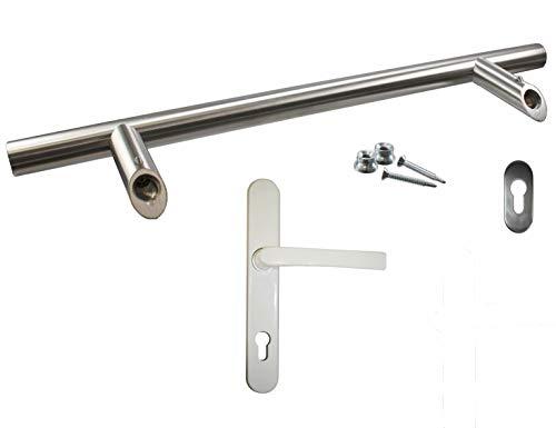 heicko Innendrücker-Stoßgriff-Set 400 mm aus Aluminum pulverbeschichtet weiß/Edelstahl (1 ST)
