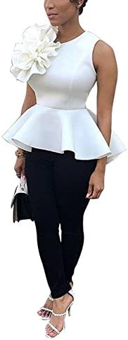 Women s Elegant Round Neck Sleeveless Flounce Ruffle Hem Flower Peplum Blouse Shirt Tops Clubwear product image