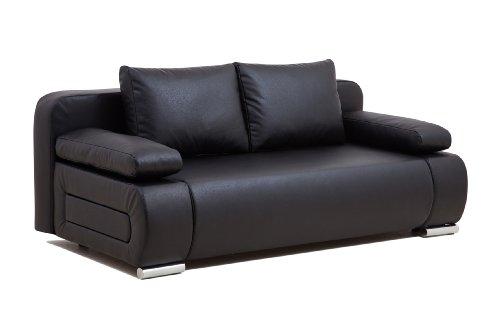 Collection AB ULM Sofa Schlafsofa, Kunstleder, schwarz, 98 x 200 x 85 cm