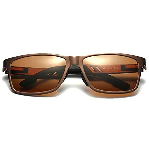 QCSMegy Gafas de sol para hombre Coloridas Nuevas Gafas de sol polarizadas de aluminio y magnesio Azul/Marrón/Rojo/Plateado Gafas de sol de conducción para hombre (Color: Marrón)