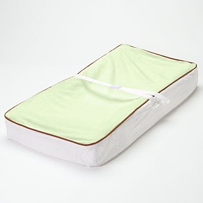 Bacati - Velor Lime/White/Chocolate Plush Changing Pad Cover