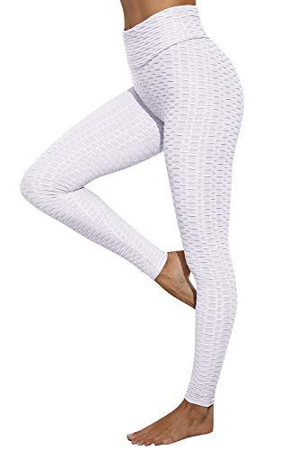 heekpek Leggings de Sport Femmes Anti-Cellulite Femme Legging Push Up Confortable Legging Taille Haute Elastiques Legging Compression Slim Fit Butt Lift Sport Legging pour Yoga Jogging Blanc S