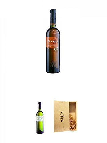 Dry Sack Sherry Medium Dry Spanien 0,75 Liter + Dry Sack Sherry Fino Spanien 0,75 Liter + 1a Whisky Holzbox für 2 Flaschen mit Schiebedeckel