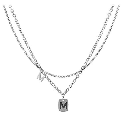 CHENLING nicho diseño doble M letra collar femenino hip-hop clavícula cadena accesorios