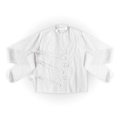 Widmann 4316F – Zwangsjacke für Erwachsene, weiß, Kleidungsstück, Hemd. Oberteil, Psychopaten, Serienkiller, verschiedene Größen, Karneval, Motto Party, Halloween