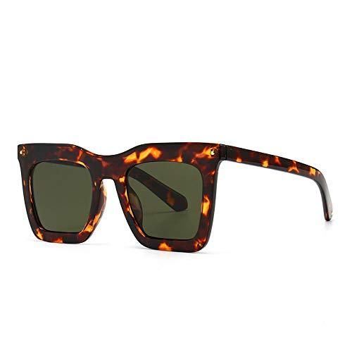 Gafas De Sol Hombre Mujeres Ciclismo Gafas De Sol Cuadradas con Parte Superior Plana A La Moda para Mujer, Gafas Graduadas Vintage para Hombre, Gafas De Sol-Leopard_Dark_Green