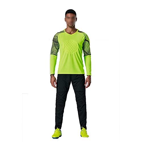 AXTMR Trajes de jersey de portero de fútbol para hombres y niños, camisetas de entrenamiento deportivo de portero para adultos, pantalones de manga larga, uniformes de fútbol, S-4XL opcional,Green,XXL