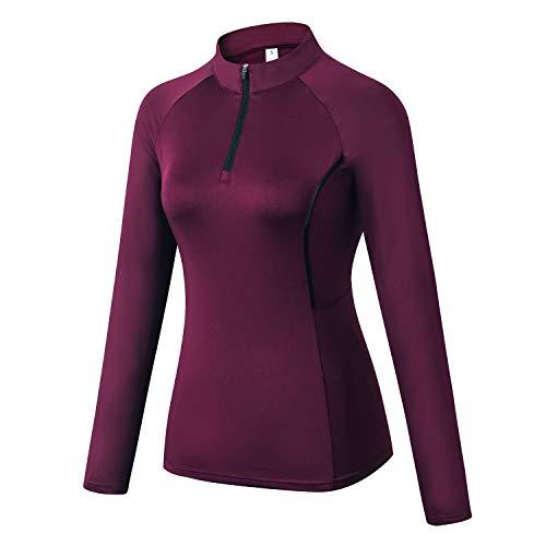 WOWENY Top de Running Ligero con Cremallera de 1/4 para Mujer, Camisetas de Manga Larga con protección Solar UPF 50+, Camisetas de Senderismo al Aire Libre para Ciclismo (Vino Tinto, XL)
