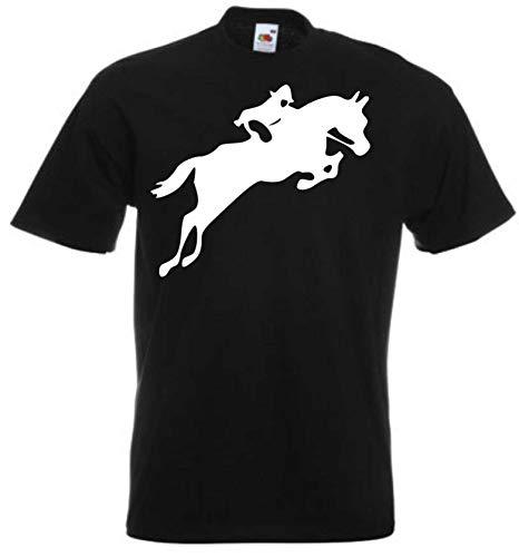 JINTORA Camiseta T-Shirt - Hombre Negro - Talla S - Las Carreras de Caballos - JDM/Die Cut - para Fiesta Carnaval Carnaval Laboral Deportes