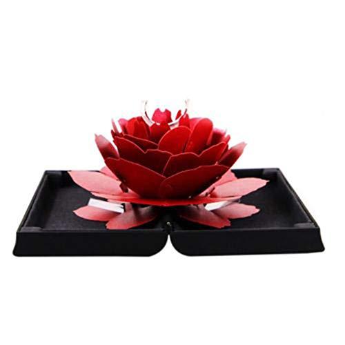 AmyGline Ringschachtel 3D Pop Up Rose Ring Box Rose Blume Verlobungsring Box Ring Bearer Box zum Valentinstag Ring Geschenkboxen Geschenk-Verpackung Schmuckschatulle Schmuckkästchen (schwarz)
