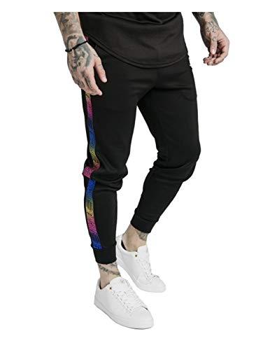 Sik Silk Hombre Pantalones Cortos de nataci/ón Runner Tape Negro