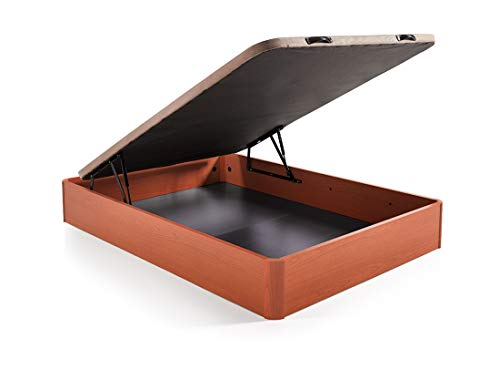 Hogar 24 Canapé Abatible Madera Gran Capacidad con Tapa 3D y Válvulas de Transpiración, con Esquineras en Madera Maciza, Color Cerezo, 135X190cm