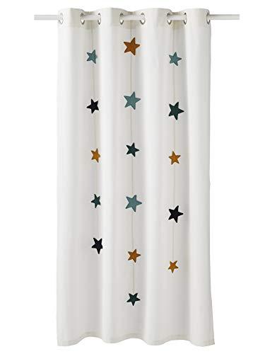 Vertbaudet Gardine, lichtdurchlässig, Rosa, Ecru/Grün, 135 x 180 cm