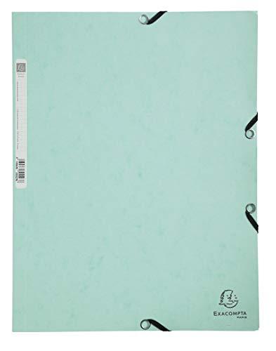 Exacompta 55533E Sammelmappe Aquarel, 24 x 32 cm für DIN A4, Gummizugverschluß, 3 Klappen, Colospan 400 g/m², 1 Stück, pastellgrün