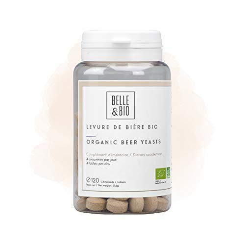 Belle&Bio Levure de Bière - 120 comprimés - 400 mg/comprimé - Cheveux - Certifié Bio par Ecocert - Fabriqué en France, Beige, Levure De Bière, 120.0 unité