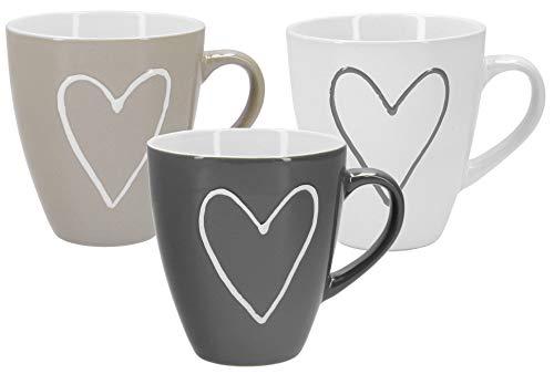 Tassen Becher mit Herzdekor Herzen in weiß, beige und grau - 3 Stück im Set aus Keramik für ca. 400 ml