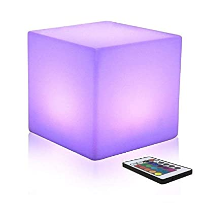 WMMING 16-inch Chargeable Colour Changing Led Mood Light Cube Stool with Remote Control, 16 RGB Colour and 4 Brightness Mood Lamp, Waterproof Indoor/Outdoor Bedroom Kitchen Garden Pool Party Use