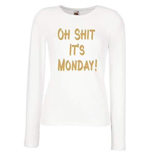 lepni.me Camisetas de Manga Larga para Mujer Oh Shit It's Monday Gift