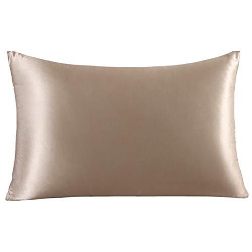 ZIMASILK - Funda de almohada de seda 100% para pelo y piel, de seda pura de morera de 19 mommes por ambas caras, con cremallera, 1 unidad (40 x 60 cm, color topo)