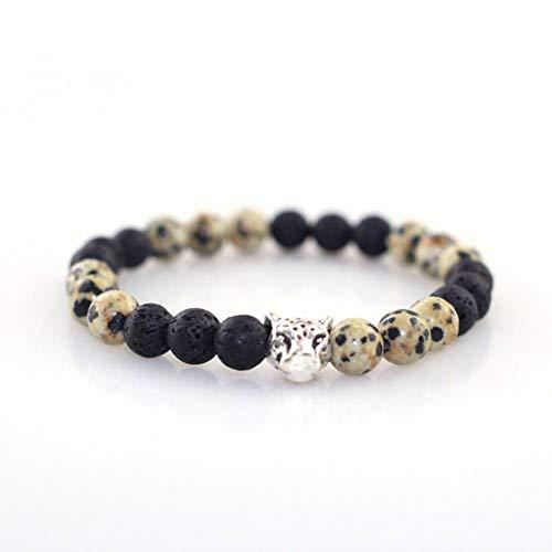 HMKLN 8 Mm Ei & Vulkanstein Perlen MitSilber Farbe Legierung Matt Tiger Leopard Armband Für Frauen Männer Paar Armreifen Schmuck