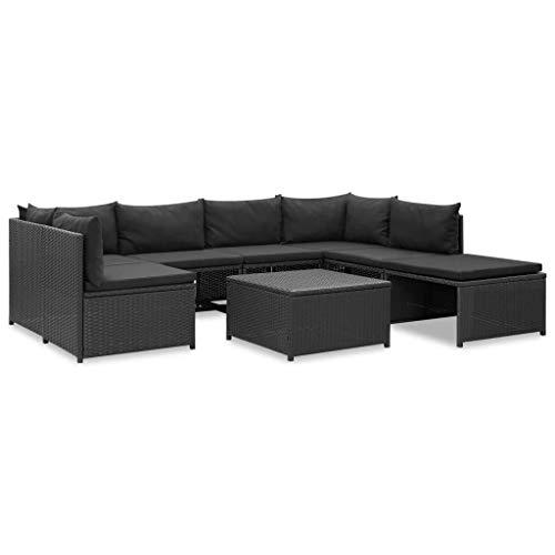 UnfadeMemory Set di divani da giardino, da esterno, 8 pezzi, con cuscini, per terrazzo esterno, in rattan sintetico, colore: nero