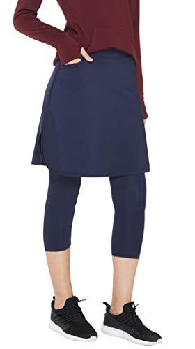 Westkun Mujer Pantalones de Modesta Falda Golf Entrenamiento Casual Corriendo de hasta la Rodilla Rock Legging 3/4 de Mallas Capri 2 en 1(Armada,XL)