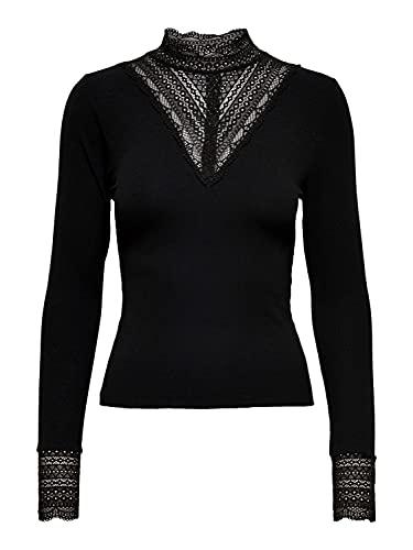 Only Onltilde L/S High Neck Top Jrs Camiseta de Manga Larga, Negro/Detalle: Black Lace, S para Mujer