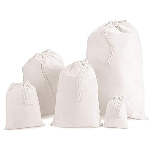 IMFAA Sacs à provisions en mousseline 100 % coton avec cordon de serrage, bas, stockage, linge, 6 tailles (5, XL (50 x 75) cm)