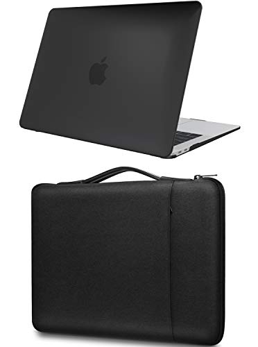 ProCase for MacBook Air 13 M1 Hard Shell Case and Sleeve Bag, Compatible with 2020 2019 2018 Release MacBook Air 13 (A2337 A2179 A1932) -Black