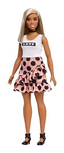 Barbie FXL51 Fashionistas pop in polka dot jurk met wit blond haar, poppen speelgoed vanaf 3 jaar