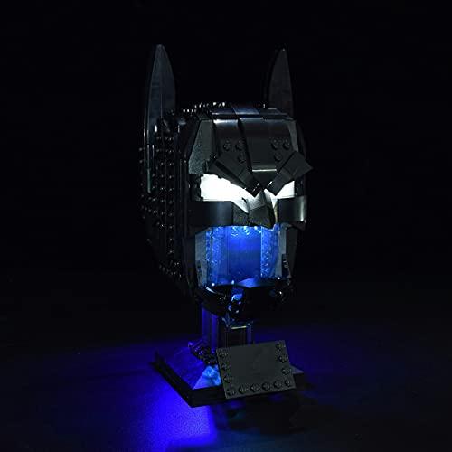 Elroy369Lion Juego de iluminación LED para casco Lego Batman 76182, bloques de construcción DIY controlados por placa de identificación, azul hielo (solo LED incluido)