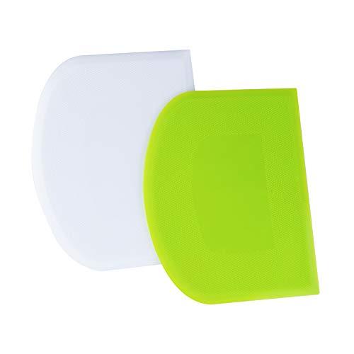 LUTER 2pcs Rasqueta de Masa de Plástico 12x9,5cm - Rasqueta Cortadora de Masa Espátula Rasqueta para Hornear - Verde, Blanco