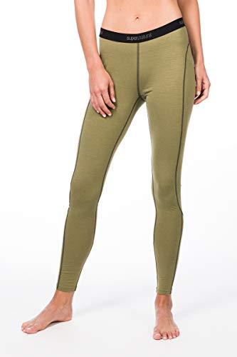 super.natural Lange Damen Funktions-Unterhose, Mit Merinowolle, W BASE TIGHT 175, Größe: XS, Farbe: Beige/Khaki