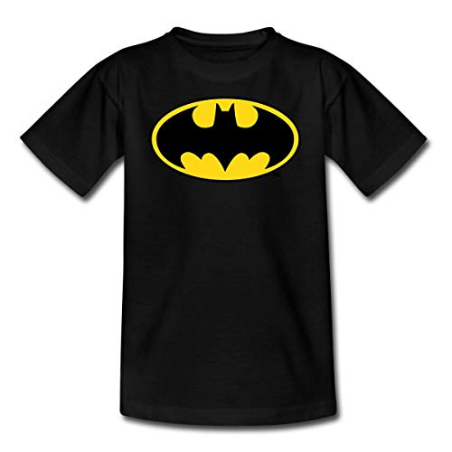 DC Comics Batman Logo Original Kinder T-Shirt, 122/128 (7-8 Jahre), Schwarz
