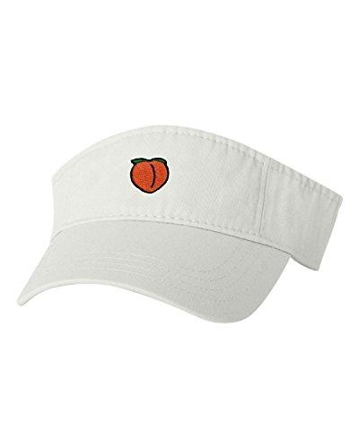Adjustable White Adult Peach Emoji Embroidered Visor Dad Hat