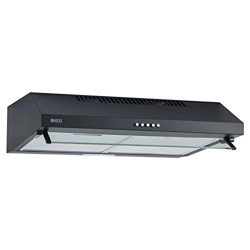 NEG Dunstabzugshaube NEG15-ATB (schwarz) Edelstahl-Unterbau-Haube (Abluft/Umluft) und LED-Beleuchtung (60cm) Unterschrank- oder Wandanschluss