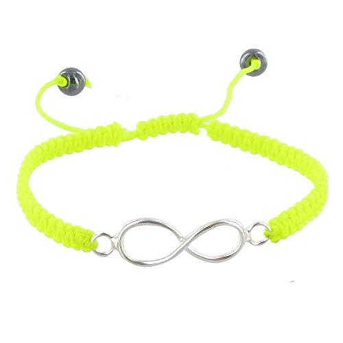 Schmuck Les Poulettes - Sterling Silber Armband Unendlichkeit Geflecht Link Neon - Classics - Gelb
